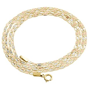 Other Real 10k Tri-tone Gold Solid Valentino Link Chain 1.50mm Necklace - Inches