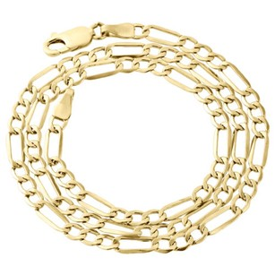 Other Real 10k Yellow Gold Solid Figaro Chain 4mm Necklace Lobster Clasp 16-30 Inch