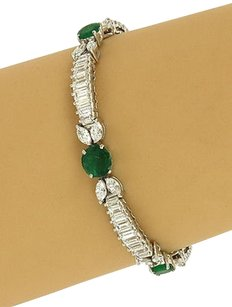 Solid Platinum Cts Diamonds Cts Emeralds Ladies Dress Bracelet