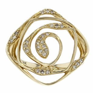 Other 0.18ct Pave Diamond 14k Yellow Gold Swirl Ring 7 G-h Si1-si2