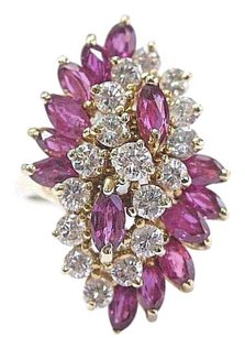 Fine Gem Ruby Diamond Yellow Gold Cluster Jewelry Ring 14kt 3.36ct