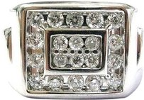 Fine Mens Round Cut Diamond Block Bling White Gold Jewelry Ring 1.16ct