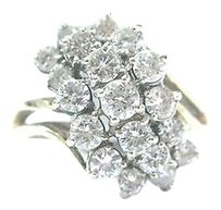 Other Fine Round Cut Diamond Cluster Yellow Gold Jewelry Ring 1.50ct