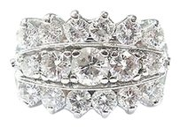Fine Round Cut Diamond 3-row Cluster Jewelry Ring Wg 2.26ct