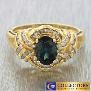 Other 14k Solid Yellow Gold Round Baguette Cut Diamond Oval Indicolite Tourmaline Ring