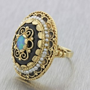 Other 1970s Vintage Estate 14k Solid Yellow Gold Onyx Pearl Opal Cocktail Ring 11.8g