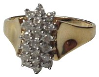 Boutique Karat Yellow Gold Cluster Sparkle Cocktail Ring B3290