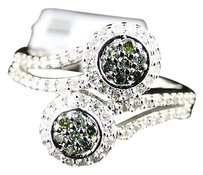 Ladies,Womens,White,Gold,Green,White,Round,Cut,Flower,Diamond,Ring,12,Ct