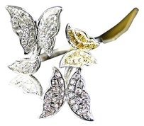 10k,Gold,Ladies,Multi,Color,Butterfly,Fashion,Designer,Diamond,Ring