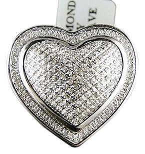 Ladies,Womens,White,Gold,Finish,Round,Cut,Xl,Heart,Diamond,Fashion,Designer,Ring