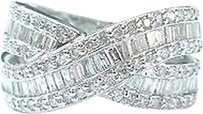 Other 18kt,Baguette,Round,Diamond,Criss,Cross,White,Gold,Jewelry,Ring,1.04ct