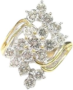 Fine Round Cut Diamond Flower Cocktail Jewelry Ring Yg 1.96ct