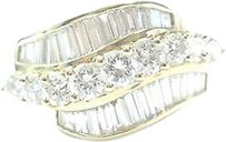 Other Fine Round Baguette Diamond Yellow Gold Jewelry Ring 2.11ct