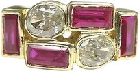 18kt,Vintage,Gem,Ruby,Diamond,Band,Ring,Solid,Yellow,Gold,2.90ct