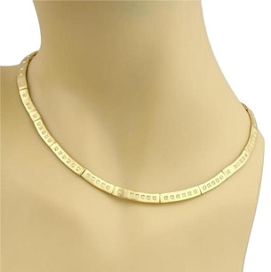 18k Yellow Gold Diamond 4.5mm Wide Curved Bar Flat Collar Necklace
