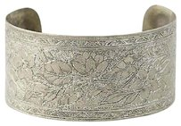 Other Floral Etched Cuff Bracelet - Chunky Vintage 7.25 31.9mm Flower Jewelry