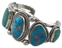 Other 925 Sterling Silver Rope Design Turquoise Stone Cuff Bracelet