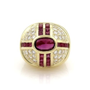 Estate 7.80ct Ruby Diamond 14k Yellow Gold High Dome Ring