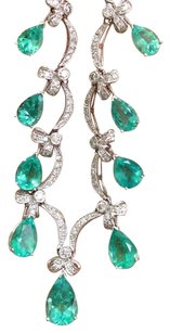 Other Fine Gem Green Colombian Emerald Diamond 14kt White Gold Necklace 16.5 22.00ct