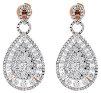 Other 14k Rose Gold Teardrop Diamond Dangle Earrings Ladies Round Cut Drop 3.64 Ctw.