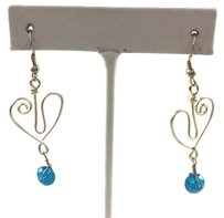 Sterling .925 Heart Shaped Drop Earrings With Blue Wcrystals