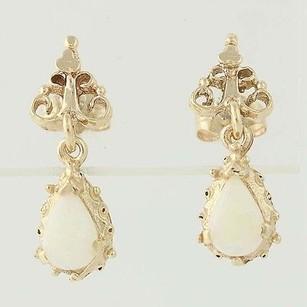 Opal Drop Earrings - 14k Yellow Gold October Birthstone Pierced .70ctw