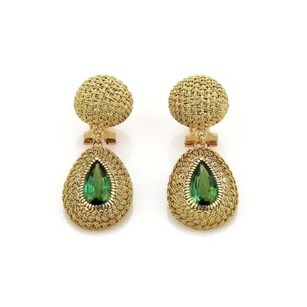 18k Yellow Gold 6ct Green Tourmaline Fancy Woven Drop Dangle Earrings