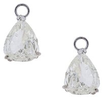 14k White Gold Pear Shaped Diamonds Earring Jackets