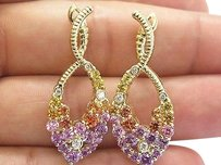 Other 18kt,Yellow,Orange,Purple,Pink,Sapphire,Diamond,Yellow,Gold,Earrings,6.20ct