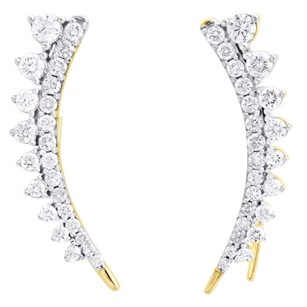 10k Yellow Gold Diamond Ear Climbers Graduated Stone Earrings 1 Long 1 Ct.