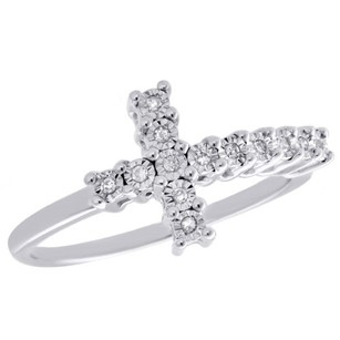 Other .925 Sterling Silver Fanuk Set Diamond Sideways Cross Ring Promise Band 120 Ct.