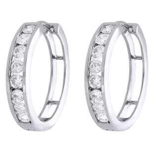 10k White Gold Round Diamond Channel Set 20mm Hinged Hoop Earrings 1 Ct.