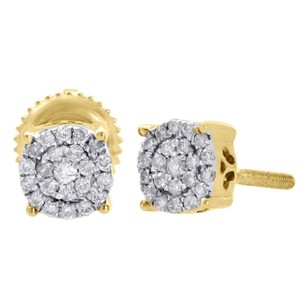 10k Yellow Gold Diamond Circle Studs Prong 5.30mm Cluster Earrings 0.13 Ct.