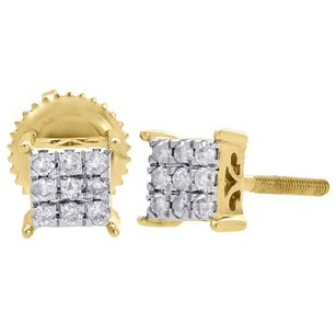 Other 10k Yellow Gold Diamond Square Studs Prong Mini 5.15mm Earrings 0.17 Ct.