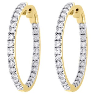10k Yellow Gold Diamond In Out Hoops Round Hinged Earrings 1.25 Long Ct.