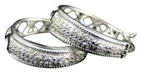 Womens,Ladies,White,Gold,Finish,Rounnd,Cut,Diamond,Pave,Hoops,Earrings,22,Mm