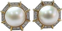 18kt,Mabe,Pearl,Diamond,Circular,Earrings,Yg,1.60ct