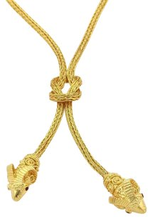 Lalaounis Ruby 18k Yellow Gold Double Rams Head Drop Pendant Lariat Necklace