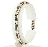 Synthetic Sapphire Diamond Bracelet 14 - 10k Yellow Gold 7.05ctw