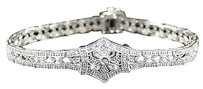 Womens White Gold Finish Genuin Diamond Tennis Bracelet .75ct
