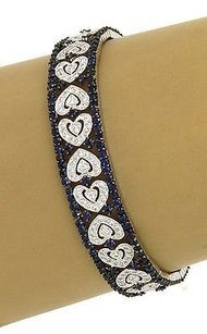,14k,White,Gold,9.50ct,Diamonds,Sapphires,Heart,Pattern,Bracelet
