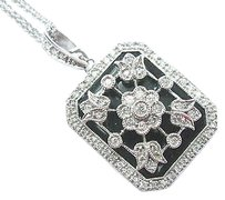Fine Onyx Diamond Milgrain Flower Locket Pendant Necklace White Gold .40ct