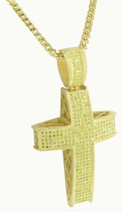 Other Canary Lab Diamond Cross Pendant 14k Gold Finish Stainless Steel Chain Iced Out