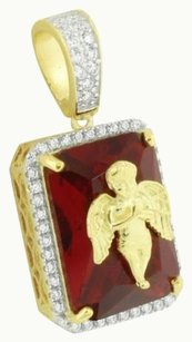 Garnet Ruby Angel Pendant 14k Gold Over Sterling Silver Lab Created Diamond 1.3