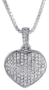 Other Diamond Heart Pendant 14k White Gold Domed Charm Necklace With Chain 0.18 Tcw.