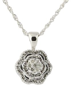 Diamond Flower Blossom Pendant Necklace 18 - 10k White Gold .33ctw