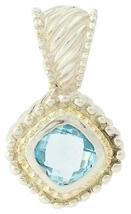 Blue Topaz Pendant - 18k Gold Sterling Silver Chunky Statement 6.20ct Solitaire