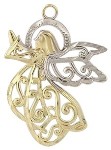 Angel Pendant - 14k Yellow White Gold Etched Details Womens Gift