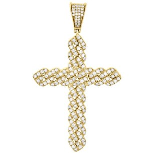 14k Yellow Gold Real Diamond Miami Cuban Link Cross Pendant 2.25 Charm 1.58 Ct.