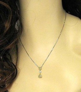 18k Two Tone Gold .60ctw Fancy Yellow White 3-tier Pendant Chain